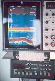 Cabin display of a commercial or oceanographic fathometer sonar