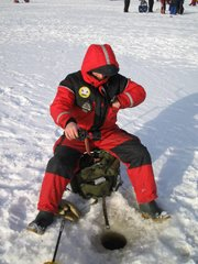 "Ice fishing in Finnish ""miljoonapilkki""-fishing competition."