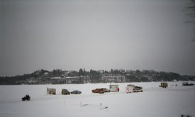 Ice fishing on the Ottawa river, near the capital of Canada